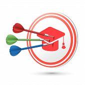Graduation Cap Icon Target With Darts Hitting On It