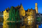 Night View Of The Old Town Of Bruges (belgium)