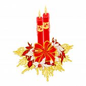 Christmas Two Candles With Ribbon And Poinsettia Vector