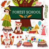 Vector Set Of Cute Woodland And Forest Animals In School.  Crow, Fox, Hare, Millipede, Mouse, Butter