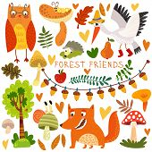 Vector Set Of Cute Woodland And Forest Animals. Owl, Fox, Snail, Crane,hedgehog, Snail, Worm.(all Ob