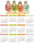 Calendar For 2015. Year Of Sheep. Vector Cartoon Sheeps Dance
