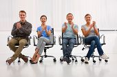 Successful Executives Applauding Office