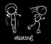Illustration of two people skating