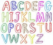 Illustration of the colorful font styles of the alphabet on a white background