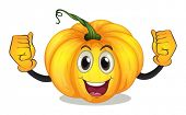 Illustration of a strong squash with a smiling face on a white background
