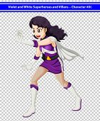 Illustration of a female violet and white superhero