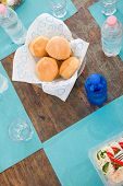 Fresh Homemade Bread And Drinking Water Bottle Table