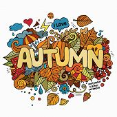 Autumn hand lettering and doodles elements background.