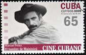 CUBA - CIRCA 2009: A stamp printed in Cuba dedicated to Cuban cinema shows The Man from Maisinicu