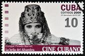 CUBA - CIRCA 2009: A stamp printed in Cuba dedicated to Cuban cinema shows La bella del Alhambra
