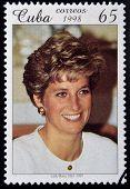 CUBA - CIRCA 1998: A stamp printed in Cuba shows Lady Diana circa 1998