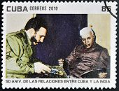 CUBA - CIRCA 2010: A stamp printed in Cuba shows Fidel Castro and President of India Rajendra Prasad