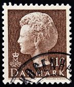 DENMARK - CIRCA 1974: stamp printed in Denmark shows portrait of Queen Margrethe circa 1974