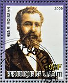 DJIBOUTI - CIRCA 2009: stamp dedicated to French Nobel chemistry prize shows Henri Moissan circa 200