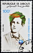 DJIBOUTI - CIRCA 1985: stamp printed in Djibouti shows Arthur Rimbaud circa 1985