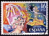 SPAIN - CIRCA 1984: stamp printed in Spain shows Carnival in Santa Cruz de Tenerife circa 1984