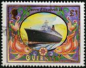 GUERNSEY - CIRCA 1999: A stamp printed in Guernsey shows Queen Elizabeth 2 (Liner) circa 1999