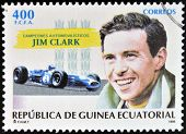 EQUATORIAL GUINEA - CIRCA 1995: A stamp printed in Guinea dedicated to car champions shows Jim Clark