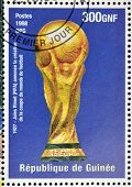 stamp printed in Republic of Guinea commemorating Jules Rimet (FIFA)