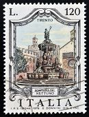 ITALY - CIRCA 1978: a stamp printed in Italy shows Neptune Fountain Trento Italy circa 1978
