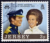 JERSEY - CIRCA 1974: A stamp printed in Jersey commemorating the wedding of Princess Anne