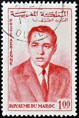 MOROCCO - CIRCA 1962: A stamp printed in Morocco shows king of Morocco Hassan II circa 1962