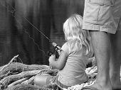 Dads Lil Girl Fishing Bw