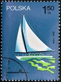 POLAND - CIRCA 1974: A stamp printed in the Poland shows image the ship circa 1974
