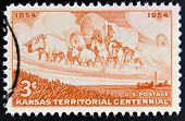 UNITED STATES OF AMERICA - CIRCA 1954: A stamp printed in USA shows Kansas Territorial Centennial