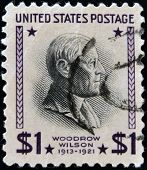 UNITED STATES OF AMERICA - CIRCA 1938: A stamp printed in USA shows Woodrow Wilson
