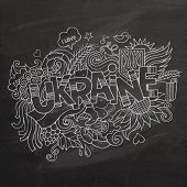 Ukraine hand lettering and doodles elements chalk board background.