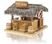 picture of tiki  - Tiki bar  isolated on white reflective background  - JPG