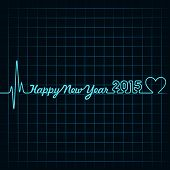 pic of happy new year 2013  - Illustration of heartbeat make happy new year text and heart symbol - JPG