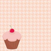 Cherry cupcake on white and pink  vector houndstooth background