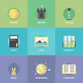 General Education Subjects Flat Icons