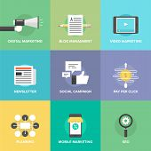 Social Media Marketing And Development Flat Icons