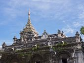 Thai Temple Pagoda With Blue Sky Background : Wat Pa Pao