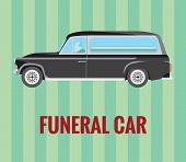 image of coffin  - Vector resizable drawing of a hearse  - JPG