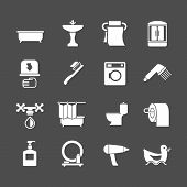 Set Icons Of Bathroom Items