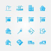 Blue real estate icons