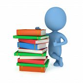 3D Blue Man With Books