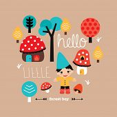 Hello little woodland forest boy fall themed kids toadstool fantasy village postcard cover design in vector