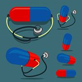 Pill (red&blue color) and Stethoscope
