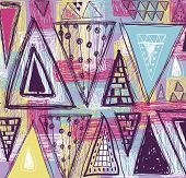 stock photo of primitive  - Abstract ethnic seamless pattern in style of primitive culture - JPG