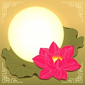 stock photo of moon-flower  - Mid Autumn Festival Lotus Flower and Moon - JPG