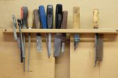 Woodworking manual tools on a stand