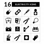 Set Icons Of Electricity
