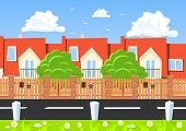 picture of row houses  - Vector houses in a row beside the road - JPG