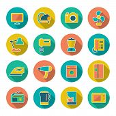 Set Flat Icons Of Home Technics And Appliances